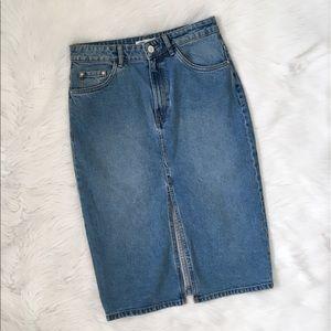 Zara Denim High Waisted Knee Length Skirt